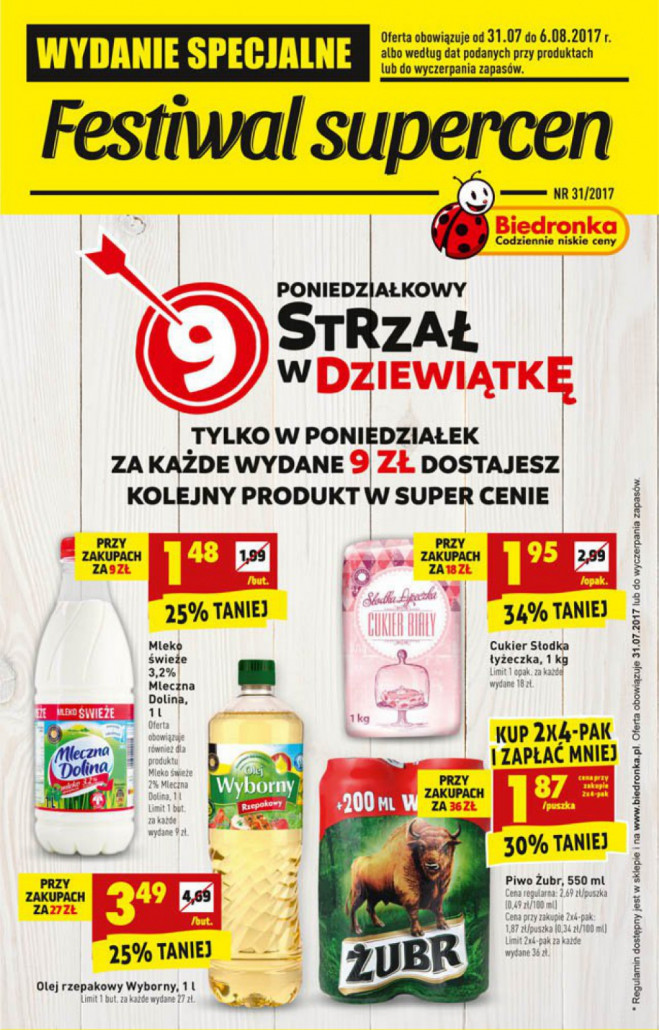 Biedronka gazetka - Festiwal super cen, ważna: od 31.07.2017 do 06.08.2017